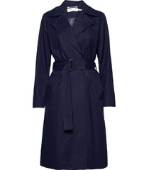 yumaiw coat trenchcoat lange jas blauw inwear