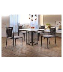 conjunto de mesa de jantar hera com tampo de vidro mocaccino e 4 cadeiras grécia i linho bege e preto