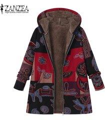zanzea las mujeres más del tamaño chaqueta de la capa de abrigo top cremalleras parka de algodón sueltos fleece -rojo
