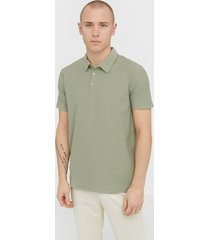 only & sons onsilkas slim ss polo noos t-shirts & linnen grön