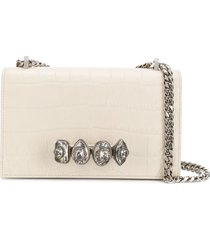 alexander mcqueen ring embellished crossbody bag - neutrals