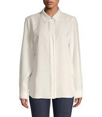 topstitch long-sleeve button-down shirt