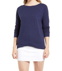 women's caslon cross hem tunic t-shirt, size small - blue