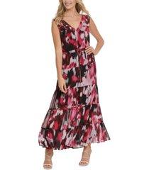 dkny printed tiered dress