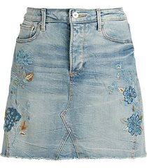 floral embroidery a-line denim skirt