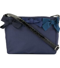 familiar bow-embellished shoulder bag - blue
