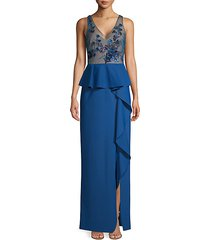 floral embellished peplum column gown