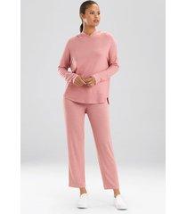 n-trance lounge pullover pajamas, women's, red, size l, n natori