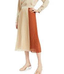 alfani colorblocked pleated skirt, created for macy's