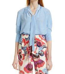 women's dvf lynn tie front silk top, size 10 - blue