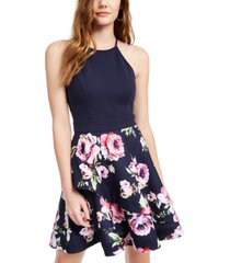 speechless juniors' halter fit & flare dress, created for macy's