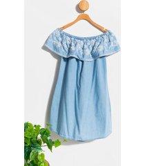 adeline embroidered mini dress - light blue