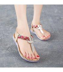 sandalias zapatos dedo pie clip bohemia cristal -beige