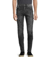 cult of individuality men's punk super skinny distressed jeans - black shot - size 34