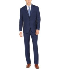 club room men's classic-fit mini-grid suit