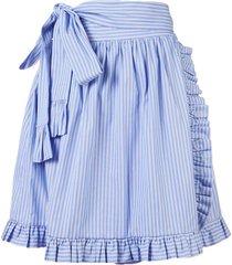 striped ruffle-trimmed skirt