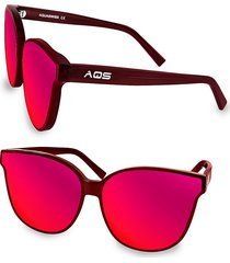 aqs women's iris 65mm cat eye sunglasses - black green