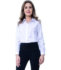 camisa 101 resort wear tricoline lisa com reguladores branca