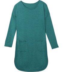 soepelvallende gebreide jurk met rondlopende zoom van zuivere bio-wol, petrol 36/38