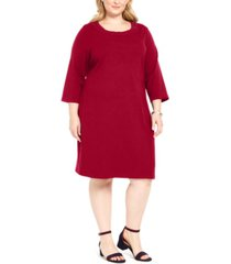 karen scott plus size cotton 3/4-sleeve dress, created for macy's