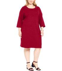 karen scott plus size cotton 3/4-sleeve dress, created for macy's