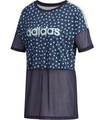 camiseta adidas farm rio feminina fl0157, cor: azul escuro/branco, tamanho: g - azul - feminino - dafiti