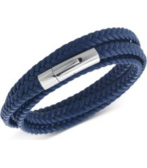 legacy for men by simone i. smith leather wrap bracelet in stainless steel