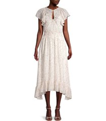 rebecca taylor women's zadie smocked midi dress - snow combo - size 2