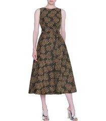 women's akris punto desert flower jacquard midi dress, size 2 - black
