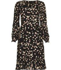 jurk met bloemenprint hip  zwart