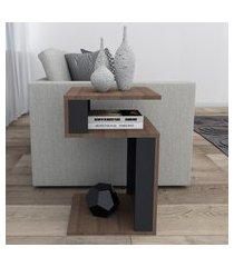 mesa de canto para sala appunto 2 prateleiras nogueira e preto