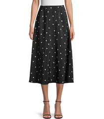 geometric print silk midi skirt