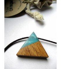 drewniany wisiorek trójkąt dąb+błękit