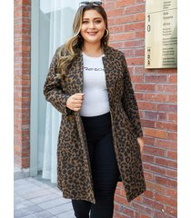yoins plus size coffee pocket leopard stand collar coat