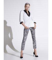 motivi pantaloni skinny stampa zebra donna bianco