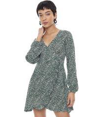 vestido manga larga cruzado vuelos verde flores  corona
