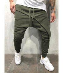pantalones de chándal con cordón informal asimétrico con capas para hombre
