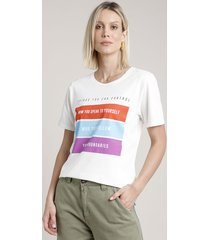 "blusa feminina ""things you can control"" manga curta decote redondo off white"