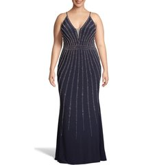 plus size women's xscape beaded trumpet gown