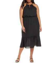plus size women's gibson x international women's day living in yellow halter midi dress, size 1x - black