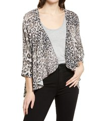 bobeau emily print drape front cardigan, size xx-large in brown animal at nordstrom