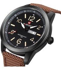 reloj cuarzo hombre correa nylon naviforce militar fechador