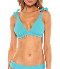 women's becca tie shoulder bikini top, size large - blue