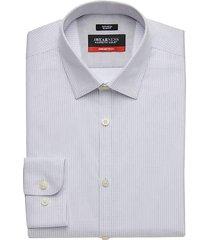 awearness kenneth cole men's awear-tech light blue woven stripe slim fit dress shirt - size: 17 1/2 34/35