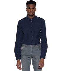minimum casual shirt met lange mouwen blauw