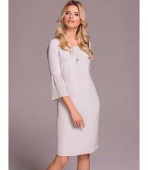 sukienka jedwabna z plisowanym rękawem