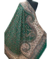 "emerald green paisely shawl kani diamond wool wrap with floral pattern 80""x40"""