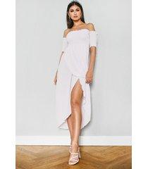 off the shoulder frill edge maxi dress, lilac