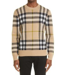 burberry nixon check jacquard cashmere sweater, size xx-large in soft fawn check at nordstrom