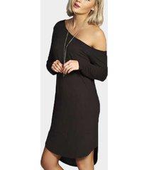 negro one mini vestidos con dobladillo curvo en los hombros